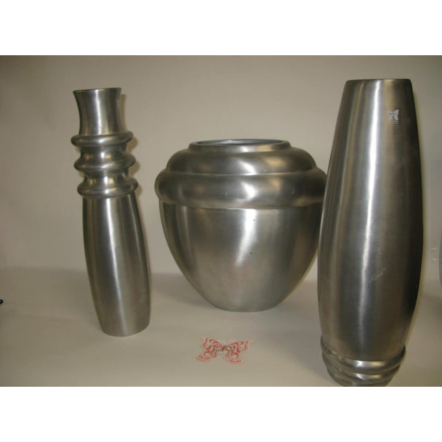 Mid-Century Modern 2003 Kilbarry Ireland Marquis by Waterford Pewter Vases - Set of 3 For Sale - Image 3 of 13