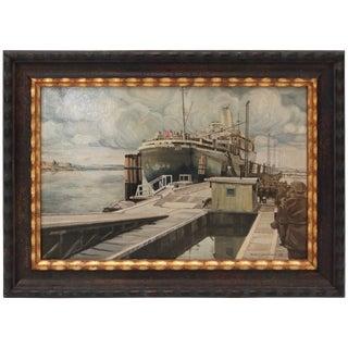 """Troop Transport"" Le Jeune Ap74 Oil Painting on Canvas by Karl Schminke C. 1948 For Sale"