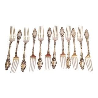 Gorham Sterling Silver Dinner Forks in Orchid Pattern - Set of 12 For Sale