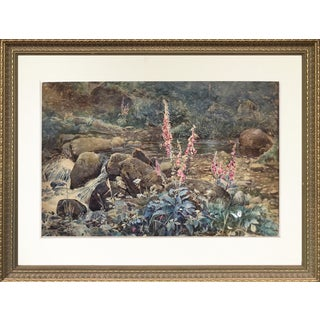 "Joseph Addey ""Fox Gloves"" English Landscape Painting 19th Century For Sale"