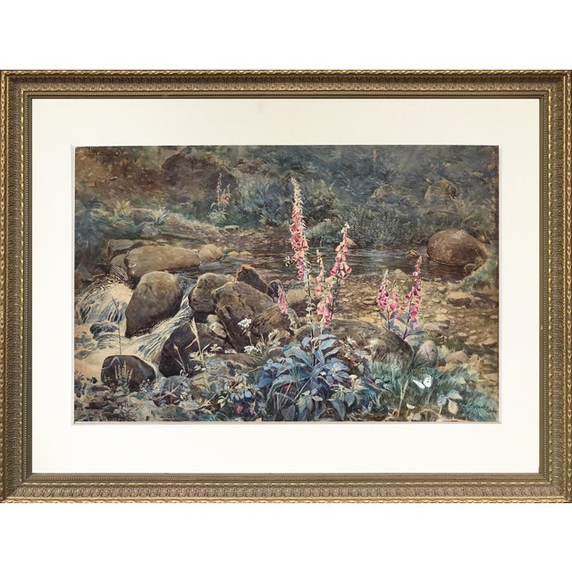 "Joseph Addey ""Fox Gloves"" English Landscape Painting 19th Century For Sale"