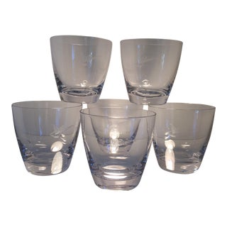 Fostoria 1959 Ford Thunderbird Dealer Etched Logo Lo-Ball Glasses-Set of 6