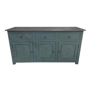 Celeste Blue Modern Moroccan Hand Carved Three Drawer Console For Sale
