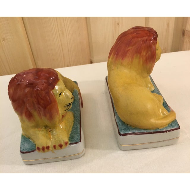 Ceramic Lion Bookends - A Pair For Sale - Image 4 of 11