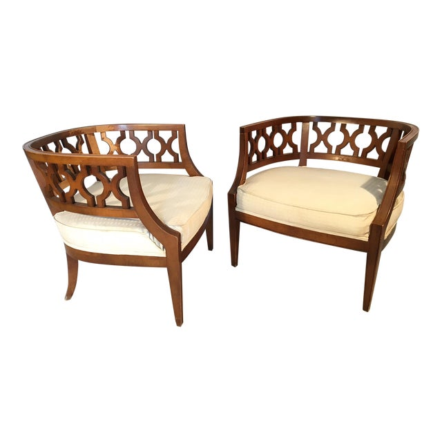 Hollywood Regency Carved Barrel Chairs After Dorothy Draper A Pair