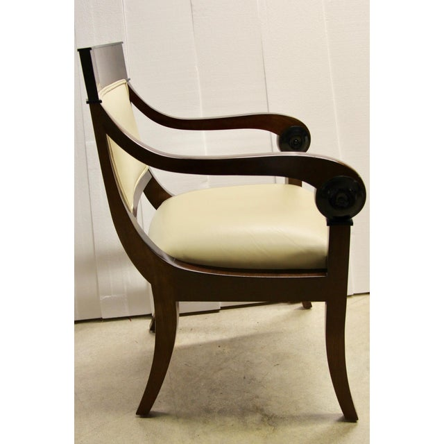 Regency-Style Scroll Arm Chair For Sale - Image 4 of 9