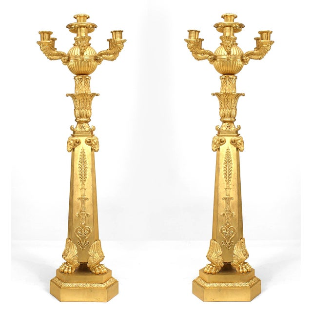 Important Pair of French Empire Bronze Dore Six-Arm Candelabra For Sale - Image 9 of 9
