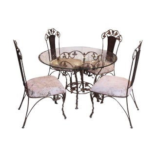 Vintage French Floral Chairs & Glass Top Table Set For Sale