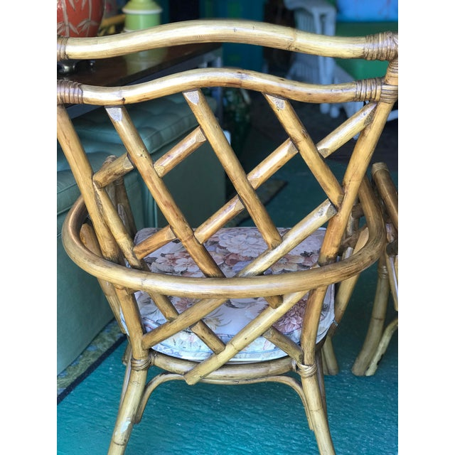 Brown Vintage Chippendale Rattan Chairs-Pair For Sale - Image 8 of 10