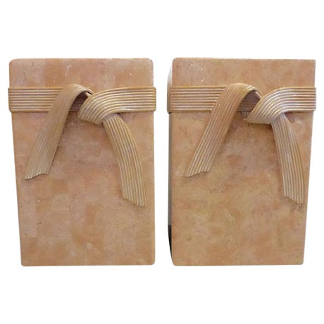 Mid-Century Tessellated Stone Side Tables - Pair - Image 1 of 6