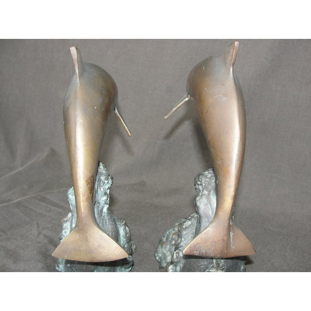 Cresting Wave Bronze Bookend Dolphins - Pair - Image 6 of 11