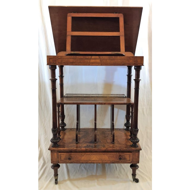 Antique English Walnut Canterbury and Music Stand, Circa 1870-1880. For Sale - Image 4 of 7