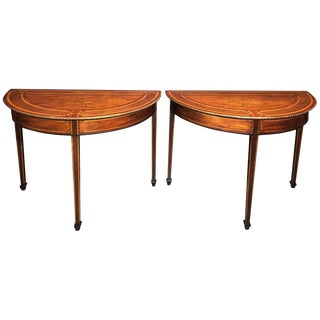 Pair of Dutch Neoclassic Inlaid Demilune Console Tables For Sale