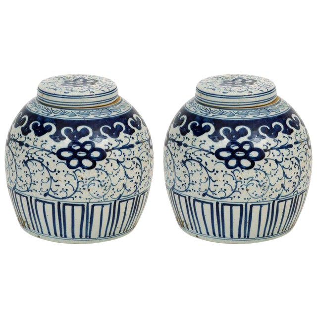 1980s Chinese Export Ginger Jars - a Pair For Sale
