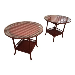 McGuire Asian Bamboo Side Tables - a Pair For Sale