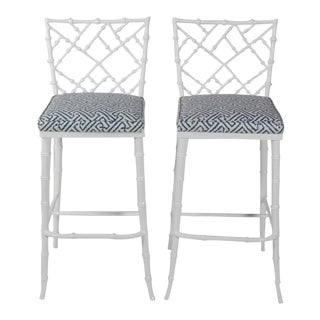 Phyllis Morris White Metal Faux Bamboo Tall Bar Stools - A Pair