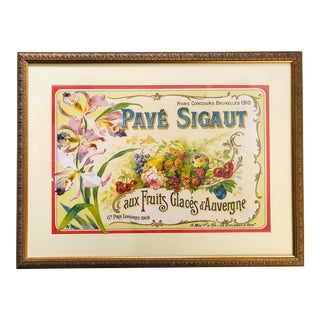 French Pave Sigaut Commercial Art Deco Print Framed For Sale