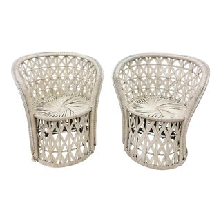 Pair Boho Chic White Wicker & Rattan Chairs For Sale