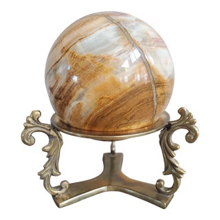 Italian Marble Sphere With Brass Base For Sale