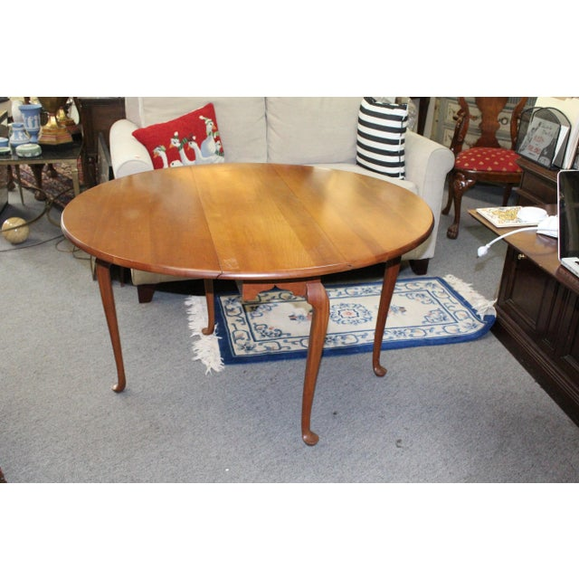 Cherry Wood 20th Century Traditional Light Cherry Drop Leaf Table For Sale - Image 7 of 7