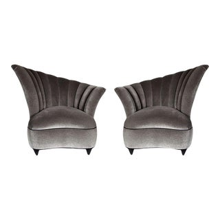 Hollywood Asymmetrical Tufted Hollywood Chairs - a Pair For Sale