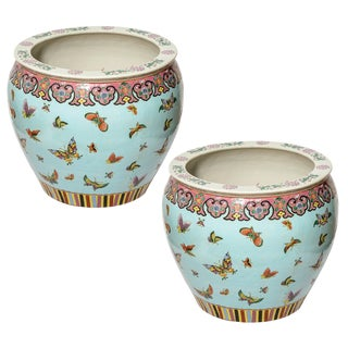 Oversized Chinoiserie Planters With Koi Fish and Butterflies - A Pair For Sale