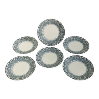 20th Century French Country Henry Alcorn England Venetian Semi-Porcelain Blue and White Salad Plates - Set of 6 For Sale