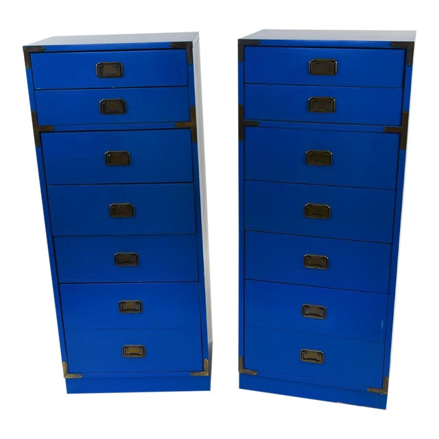 Mid Century Campaign Style Blue Tall Chests of Drawers-a Pair For Sale