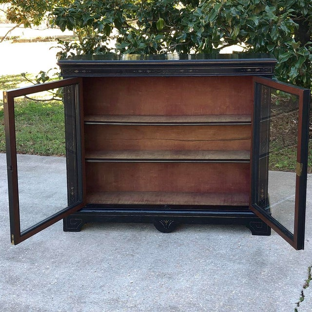 19th Century French Napoleon III Period Ebonized Barrister's Bookcase For Sale - Image 9 of 12