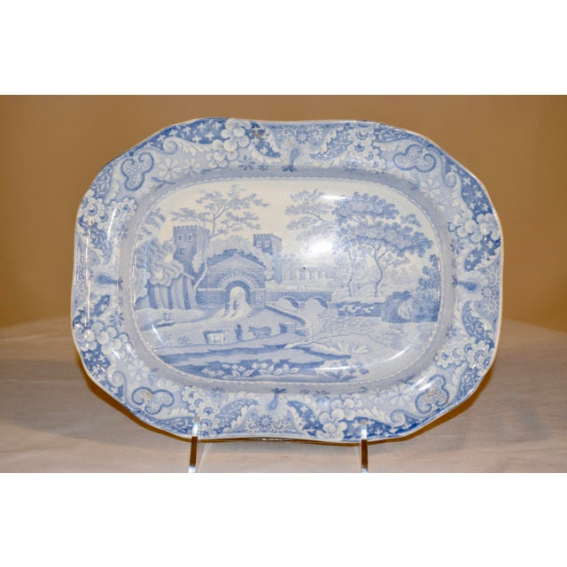 "19th century platter in the ""Castle"" pattern by Copeland Spode. The platter has a lovely shaped border, transferred with a..."