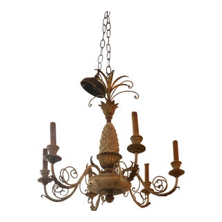 Italian Pineapple Carved Wood and Iron Chandelier For Sale