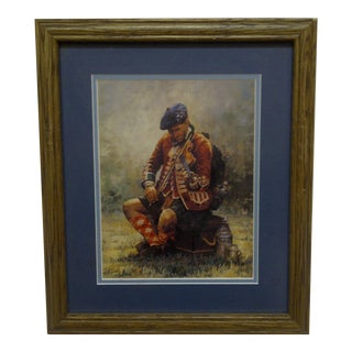 "Original Double Matted & Framed ""Scottish Soldier"" Print For Sale"
