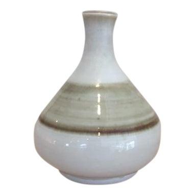 Mid-Century Modern White & Brown Bud Vase - Image 1 of 6