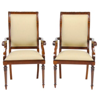 Tall Back Upholstered Arm Chairs - Pair For Sale