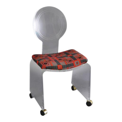Hill Mfg. Lucite Vanity Chair Round Back Rolling Casters Mid Century Modern Vintage For Sale