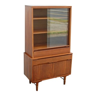 1950s Danish Modern China Cabinet For Sale