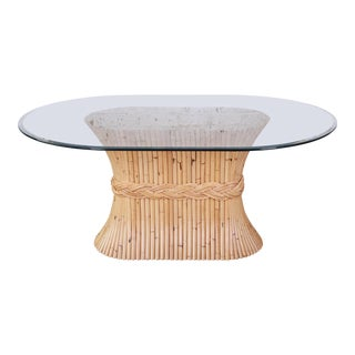 McGuire Midcentury Bamboo Pedestal Dining Table For Sale