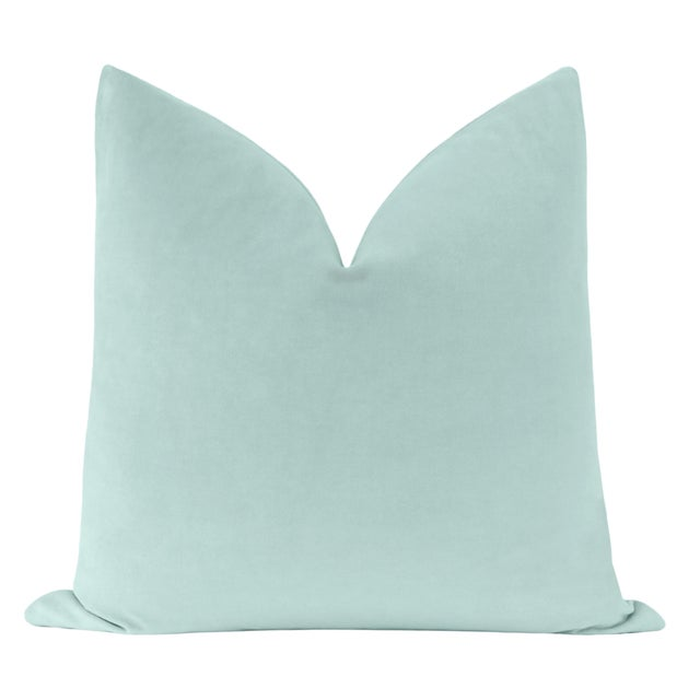 Pair of beautiful custom-made 100% cotton velvet pillows in Sky Blue. Meticulously handcrafted with serged interior seams,...