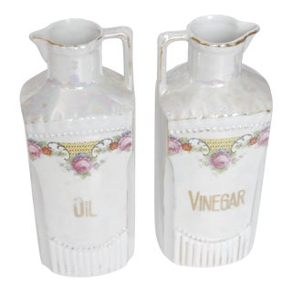 Antique German Lustre Oil and Vinegar Condiment Set - a Pair
