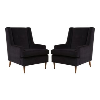 """Tall Man"" Lounge Chairs in Bistre Mohair, Pair"