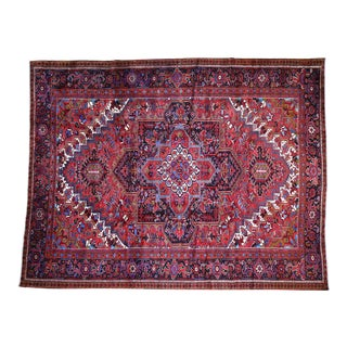 """Antique Persian Heriz Hand-Knotted Oriental Rug-10'0"""" X 13"""" For Sale"""