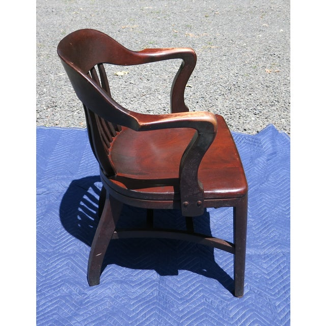 Wood 1920s Antique Bankers Chair For Sale - Image 7 of 9