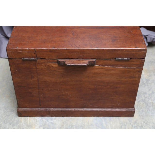 Brown 19th Century Anglo-Indian Solid Teakwood Box With Inside Trays For Sale - Image 8 of 9