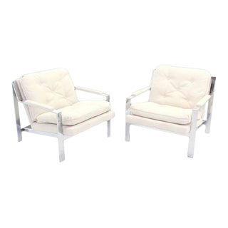 Chrome Lounge Chairs With New Upholstery - A Pair For Sale