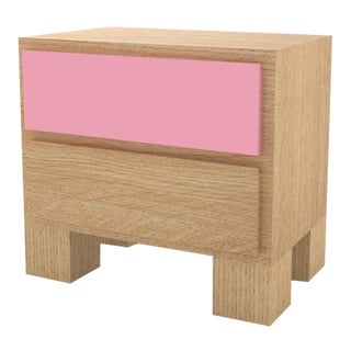 Contemporary 101 Bedside in Oak and Pink by Orphan Work, 2020 For Sale