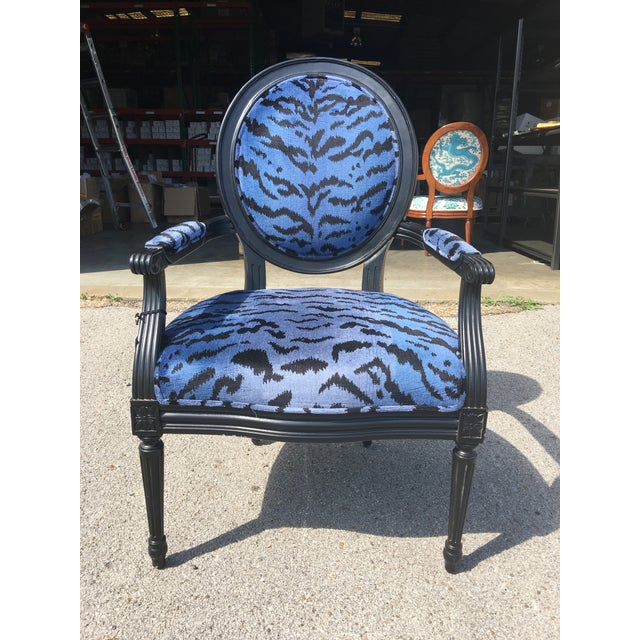 Port 68 Scalamandre Blue Le Tigre Upholstered Avery Chair - Image 2 of 7