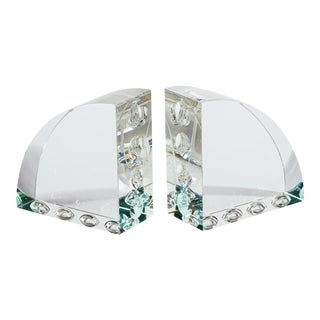 Op Art Engraved Clear Glass Arched Book Ends - a Pair For Sale