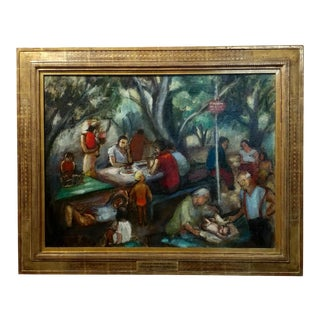 """1935 Frances Beatrice Lieberman S.F. Museum of Art """"Picnic at Alum Rock"""" Oil Painting For Sale"""