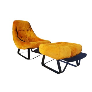 Mid-Century Modern Percival Lafer Brazilian Space Age Earth Lounge Chair and Ottoman For Sale