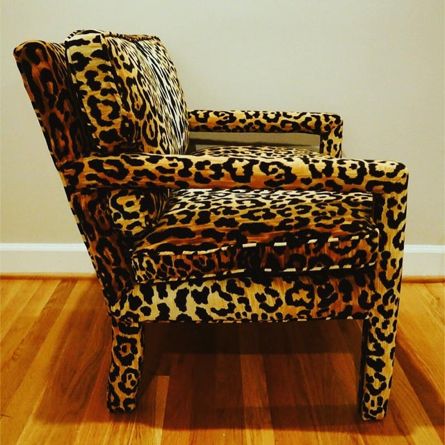 Leopard is the new black. This midcentury leopard print Baughman style open arms parsons chair is gorgeous. It makes a...
